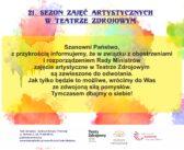 Informacja ws. zajęć artystycznych w Teatrze Zdrojowym